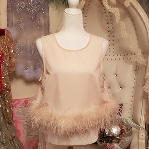 Pink Topshop OStrich Feather Trim Top sz 10